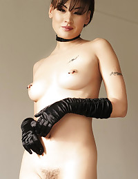 Skinny smoking hot Asian in gloves