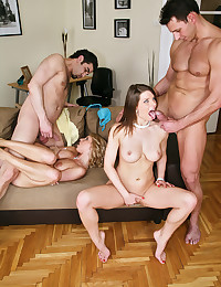 Busty Babes Enjoying Hot Group Sex