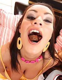 Tongue ring girl sucks big cock
