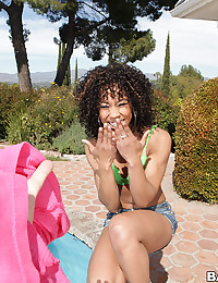 Skinny black pornstar outdoors