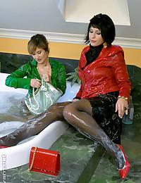 Babes bath clothed