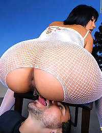 Amaaaazing hot white fishnet body suit babe takes a mega dong up her tight box in these hot fucking cumfaced pics