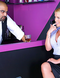 Watch this hot long leg office babe get nailed up her tight pussy by a glory hole cock in these hot strip club fuck pics