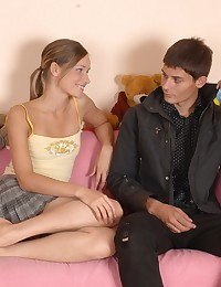 Young Irina was curious about sex and examined her friend's cock gently. She licked it and then horny stud pounded her poon.