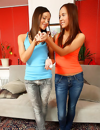 Two dildos in teen asshole