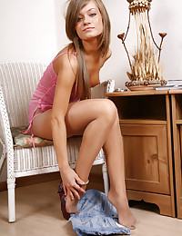 Girl in sheer pantyhose