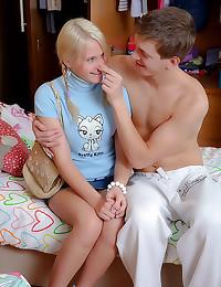Innocent blonde teen anal sex