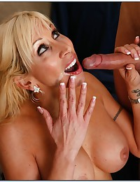 Busty Blond Cougar Morgan Enjoys Cock