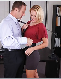 Elegant office blonde pumped