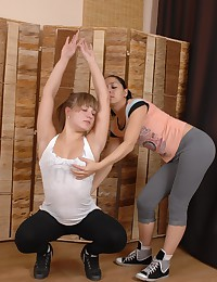 Yoga girls in stretching and toy fucking
