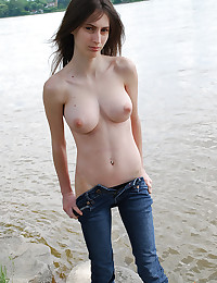 Teen strips lakeside