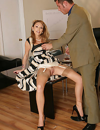 Classy chick stockings sex at work
