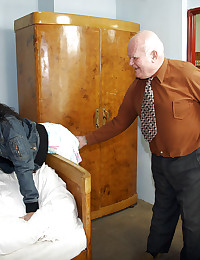 Teenage social service assistant helping man