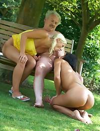 Very lucky gardener gets to fuck two hotties