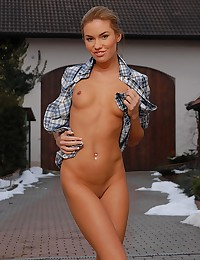 Veronika is your country gal for the day and she's doing a striptease.