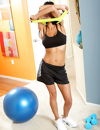 Slim workout girl with hot bo...