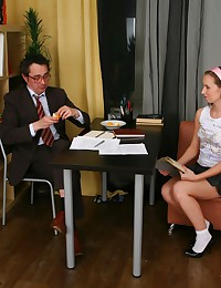 Young lady doesn't do anything special to seduce her strict teacher she just showed him what she can do to his cock.