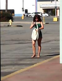 Big tits exposed in public