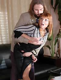Leggy secretary forced to give head and bend over for her lusty aging boss