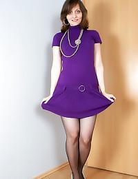 Purple dress and white pantie...
