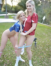Alison Angel - Horny sporty bitches making out in football shirts