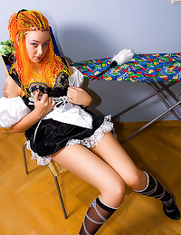 Redhead in French maid dress