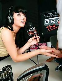 Radio girl takes huge cock