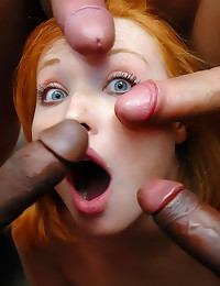 Redhead in a wild gangbang
