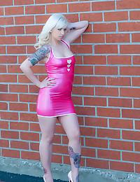 Naughty Blonde Minx Lynn In Latex