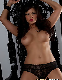 Delicate black lace and big tits are hot in the luscious solo gallery