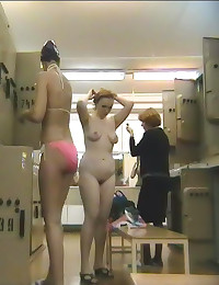 Chubby girl changing in gym