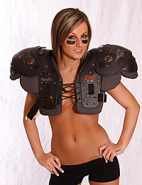 Babe in football pads