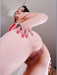 Red lipstick on hot pornstar