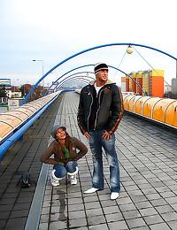 Couple fucks on public bridge
