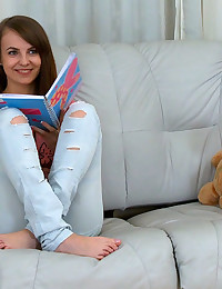 Adorable Petite Teen Shy On Couch