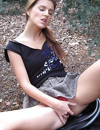 Candy Skye - Schoolgirl slut strips her uniform in the woods and masturbates