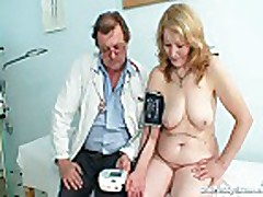 Gyno doctor speculum examines very old mature pussy