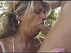 Granny fucked outside