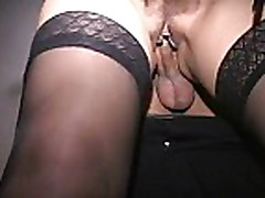 MILF at interracial orgy has public sex in kitchen