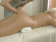Perky blonde gets massaged then pumped hard