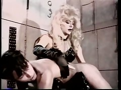 Blond Crossdresser Makes Slave Out of Whimpy White Boy