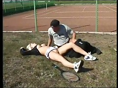 Tennis Coach Seduces Large breasted Blond Outside