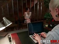 Blonde Sexy Lesbian Is Inviting This Horny Teen Babe  To A Trip To Pleasure Inside The Office