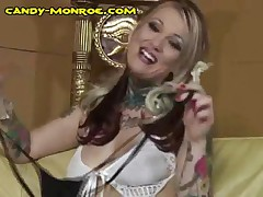 Candy Monroe - She Makes Him Strip And Put On A Sling/thong