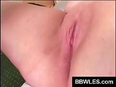 Horny BBW Lesbians Sharing A Fat Strapon In Bedroom