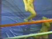 two bikini clad bitches wrestle in ring