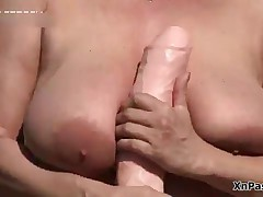 Dirty Mature Slut Playing With Her Huge Dildo Outdoor By XNPass