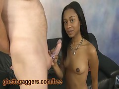 Kianti - Kianti Puts A Fat White Dick In Her Ebony Mouth And Deepthroats It As Best She Can