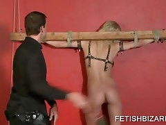 Tied Up Blonde Slave On Heels Gets Pussy Fingered