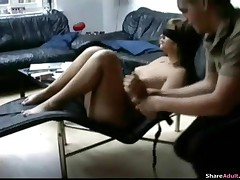 Hot Blond Girl Is Blind Folded And Tied On Her Chair And Abused By Her Boyfriend